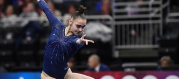 Jennifer Gadirova of Great Britain competes in the floor exercise during the 2020 American Cup