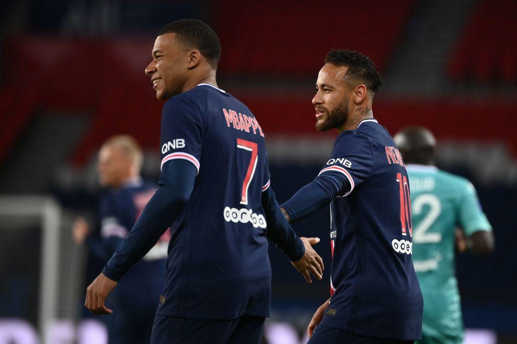 Kylian Mbappe and Neymar of Paris Saint-Germain