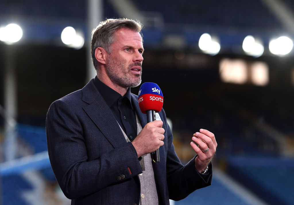 Former Liverpool defender Jamie Carragher working as a broadcaster for Sky Sports