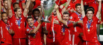 Bayern Munich lift the European Cup after beating Paris Saint-Germain in the 2020 Champions League final