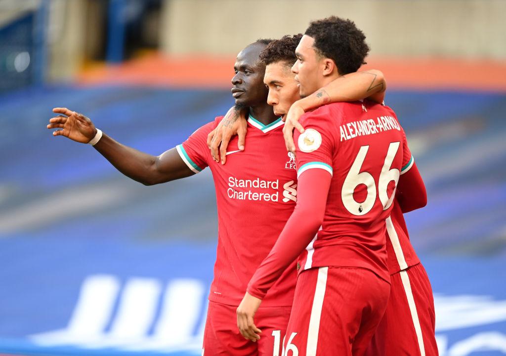 Sadio Mane, Roberto Firmino and Trent Alexander-Arnold of Liverpool