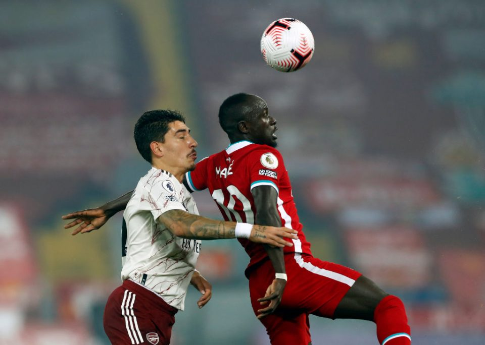 Hector Bellerin of Arsenal and Sadio Mane of Liverpool