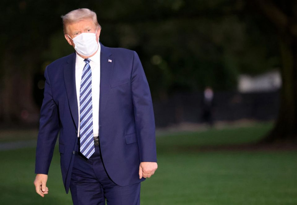 President Trump Arrives Back At White House After Stay At Walter Reed Medical Center For Covid
