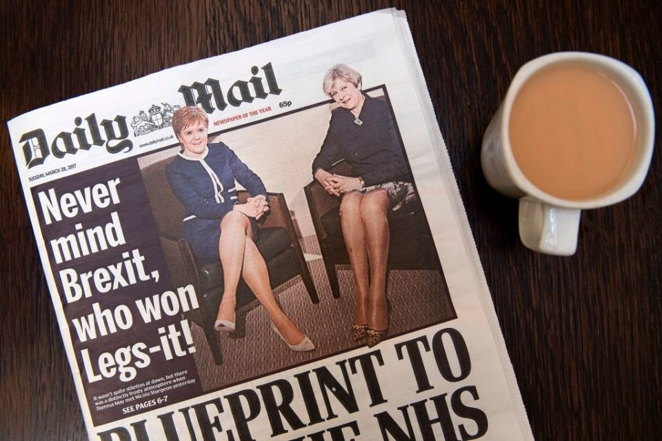 BRITAIN-EU-POLITICS-BREXIT-GENDER-NEWSPAPER