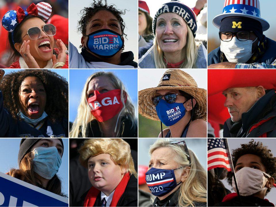 COMBO-US-VOTE-TRUMP-BIDEN-SUPPORTERS