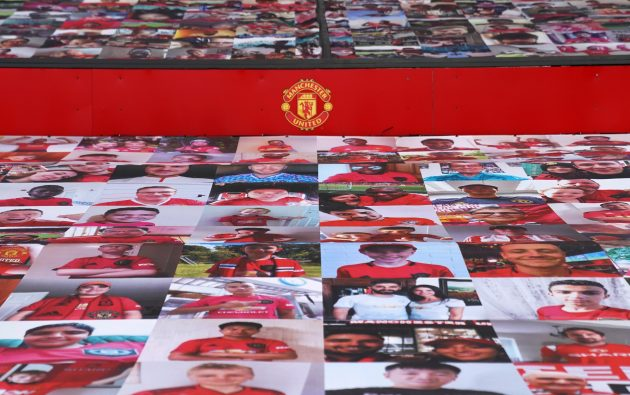 Manchester United used a collage of fans to create a mosaic effect in some areas of Old Trafford