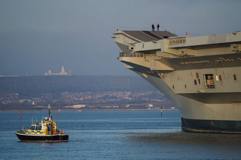 Royal Navy Aircraft Carriers Dock Side-by-Side At Portsmouth Base