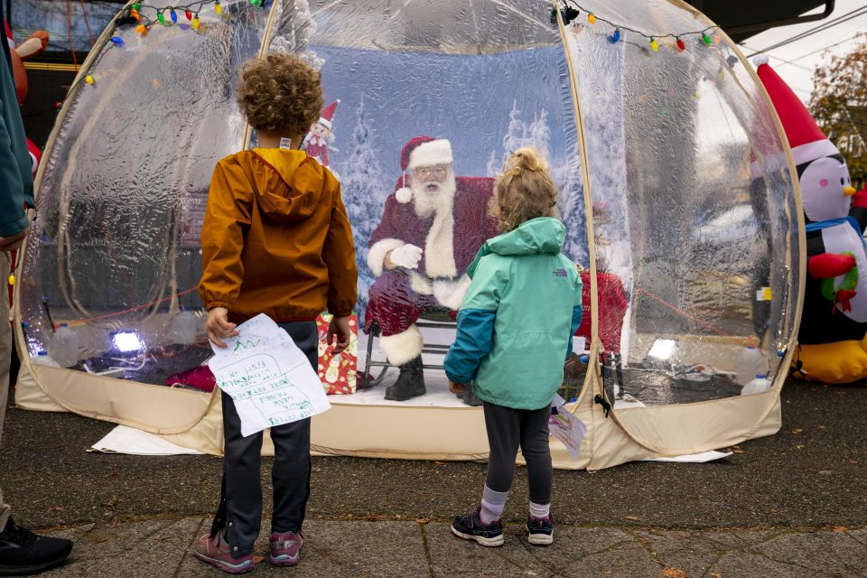 Santa Greets Children From Safety Of Socially-Distanced Bubble