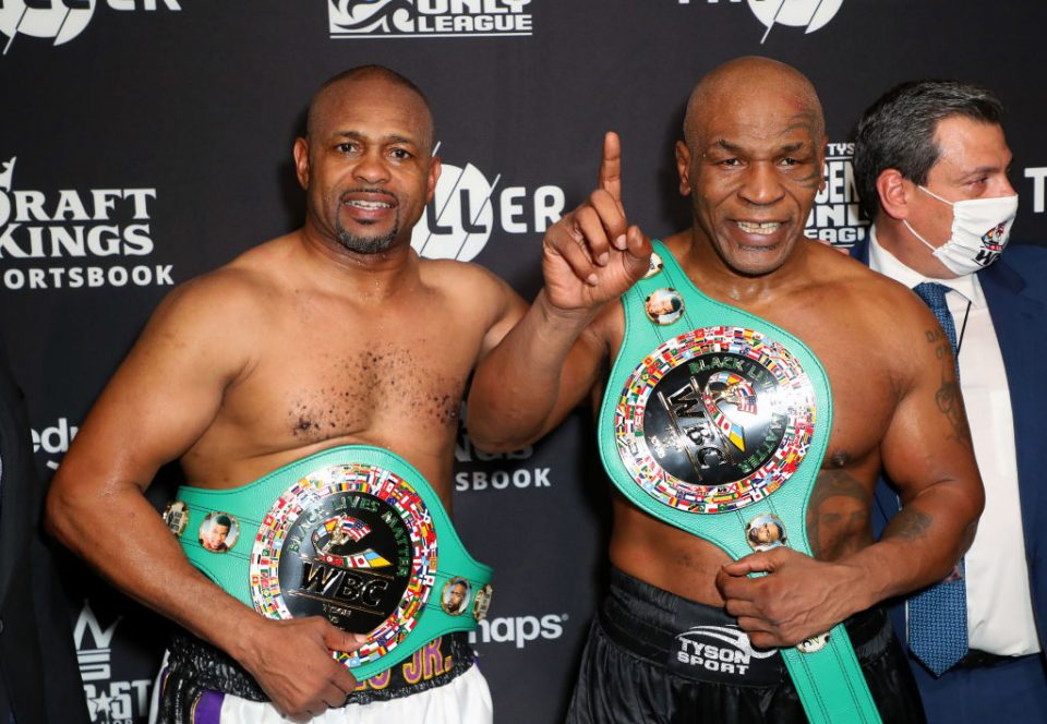 Triller made its first foray into sport by staging and showing Mike Tyson's (R) fight against fellow veteran Roy Jones Jr (L) last month