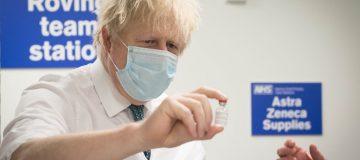 Boris Johnson Visits Vaccination Centre At Barnet FC's 'The Hive'
