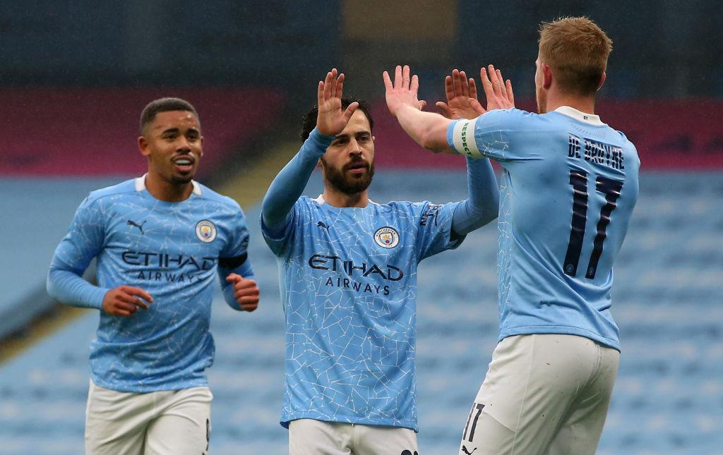 Gabriel Jesus, Bernardo Silva and Kevin De Bruyne of Manchester City