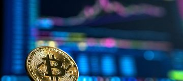 Bitcoin with graph backdrop