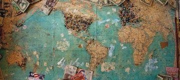 Money printing around global map