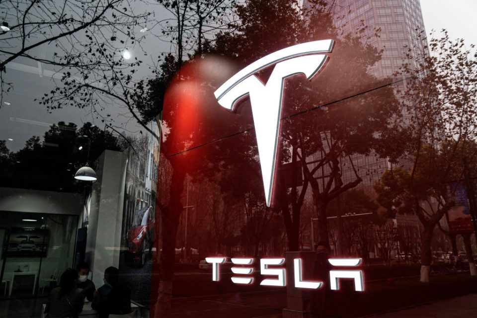 Shares in electric car firm Tesla fell over five per cent today as the stock continued to rapidly shed value amid a widespread sell-off in high-value stocks.
