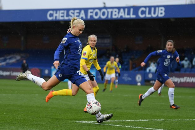 Chelsea's Pernlle Harder is among the current stars of women's football backing McAllister to win next week's vote