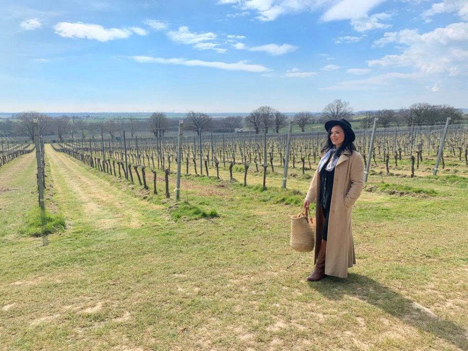Libby at the Gusbourne vineyard