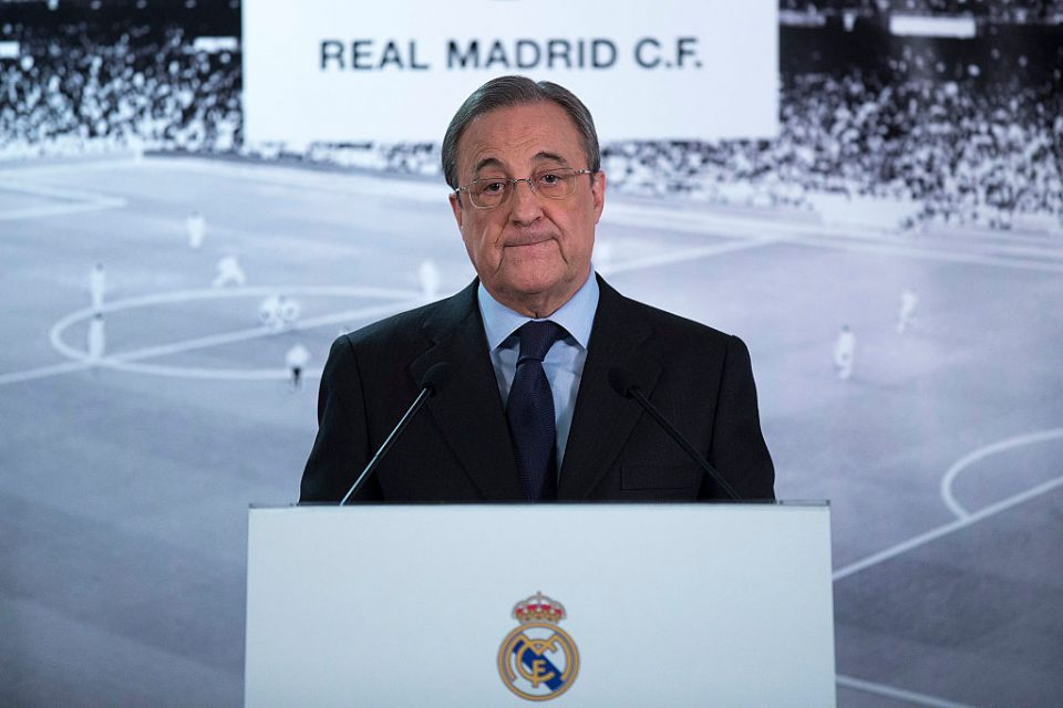 Real Madrid president Florentino Perez as the only official from the 12 European Super League clubs to appear before media