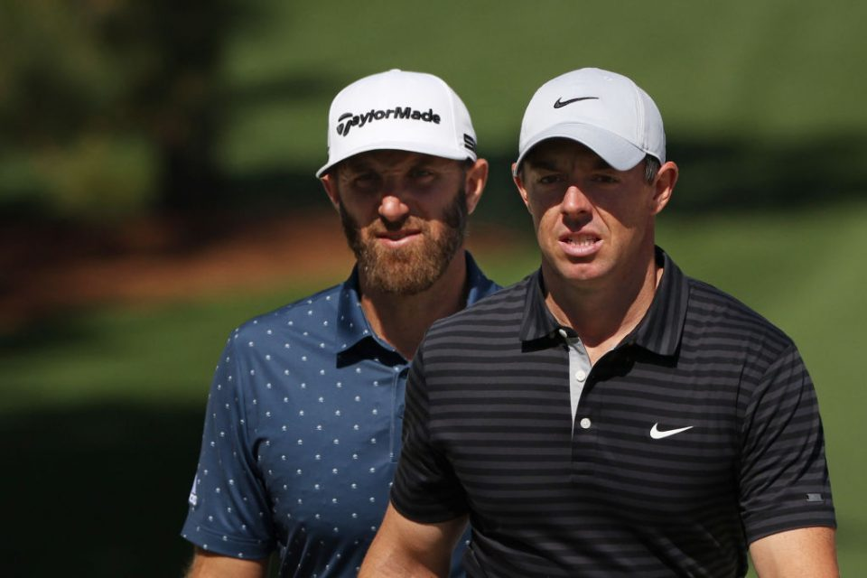 Defending champion Dustin Johnson (left) and Rory McIlroy (right) are among the leading contenders at the Masters this week