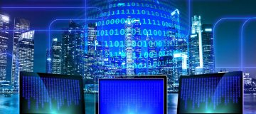 Blockchain public relations binary code on screens