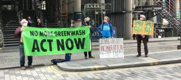 Protestors gather outside Lloyd's of London over coal mine insurance