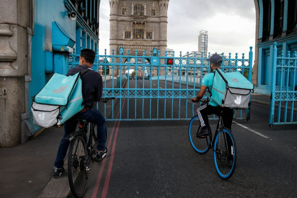 Pedestrians, Cyclists And Traffic Stuck On Tower Bridge