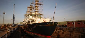 The Royal Yacht Britannia In Dry Dock For Urgent Repairs