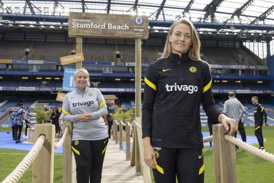 Chelsea turned Stamford Bridge into 'Stamford Beach' to mark their sponsorship deal with travel company Trivago.