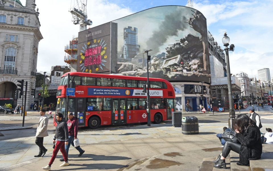 """""""Army Of The Dead"""" On Piccadilly Lights"""