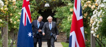 Boris Johnson Meets Australian PM At Downing Street To Tout Trade Deal