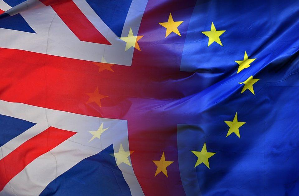 European Union Flag and United Kingdom Flag Intertwined