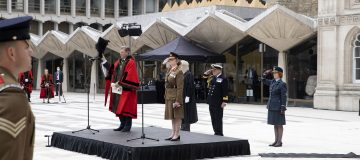 Flag flies over Guildhall to celebrate role of UK Armed Forces