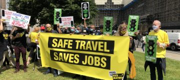 """Pilots, travel agents and union members descended on Westminster this afternoon in a plea for the government to """"save"""" the long-suffering travel industry."""