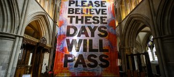 """Mark Titchner's """"Please Believe These Days Will Pass"""" Installation  Displayed At Southwark Cathedral"""