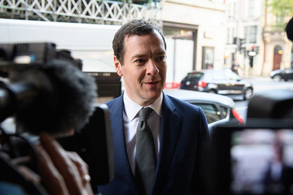 The Former Chancellor George Osborne Arrives At The Evening Standard Newspaper For His First Day As Editor