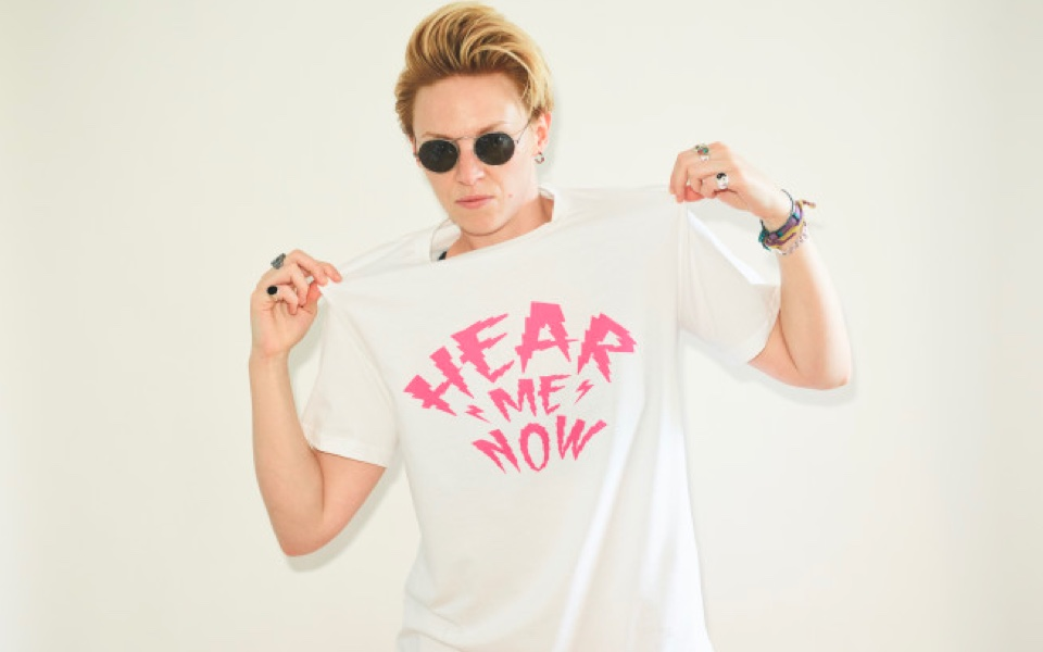 Hear Me Now t-shirt designed by La Roux at www.hearart.co.uk, with proceeds going to help Hear Art