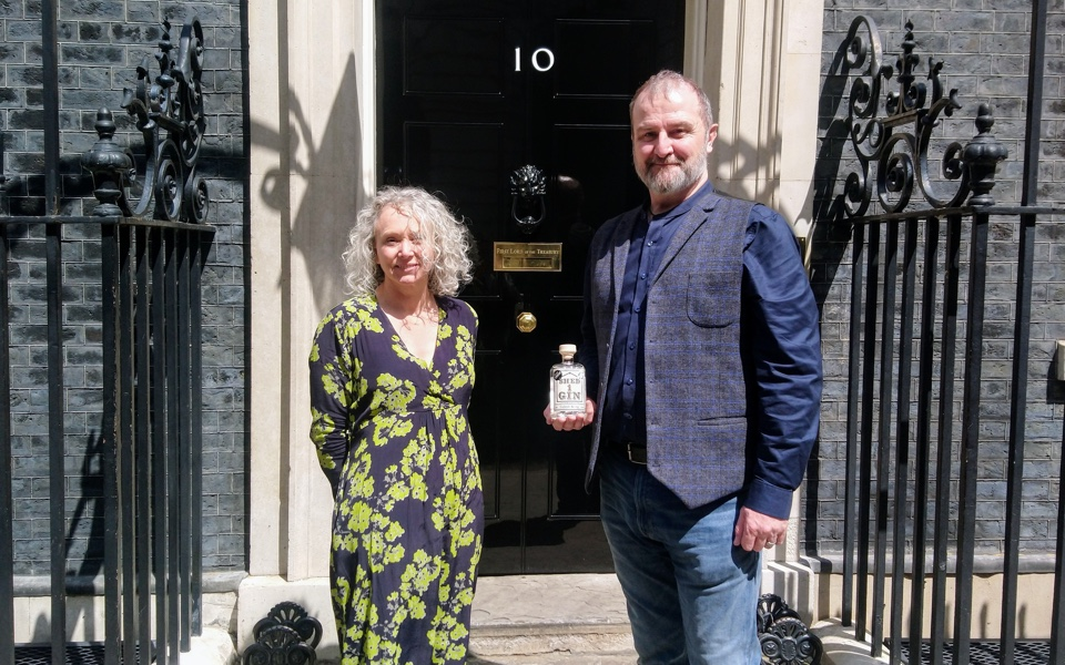 Shed 1 Distillery owners Zoe and Andy Arnold-Bennett, who recently met the Prime Minister in Downing Street to launch Together For Our Planet. They will celebrate World Gin Day.