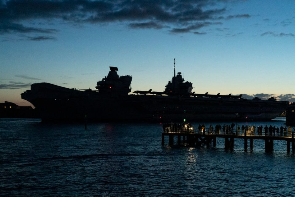 Aircraft Carrier HMS Queen Elizabeth Deploys From Portsmouth