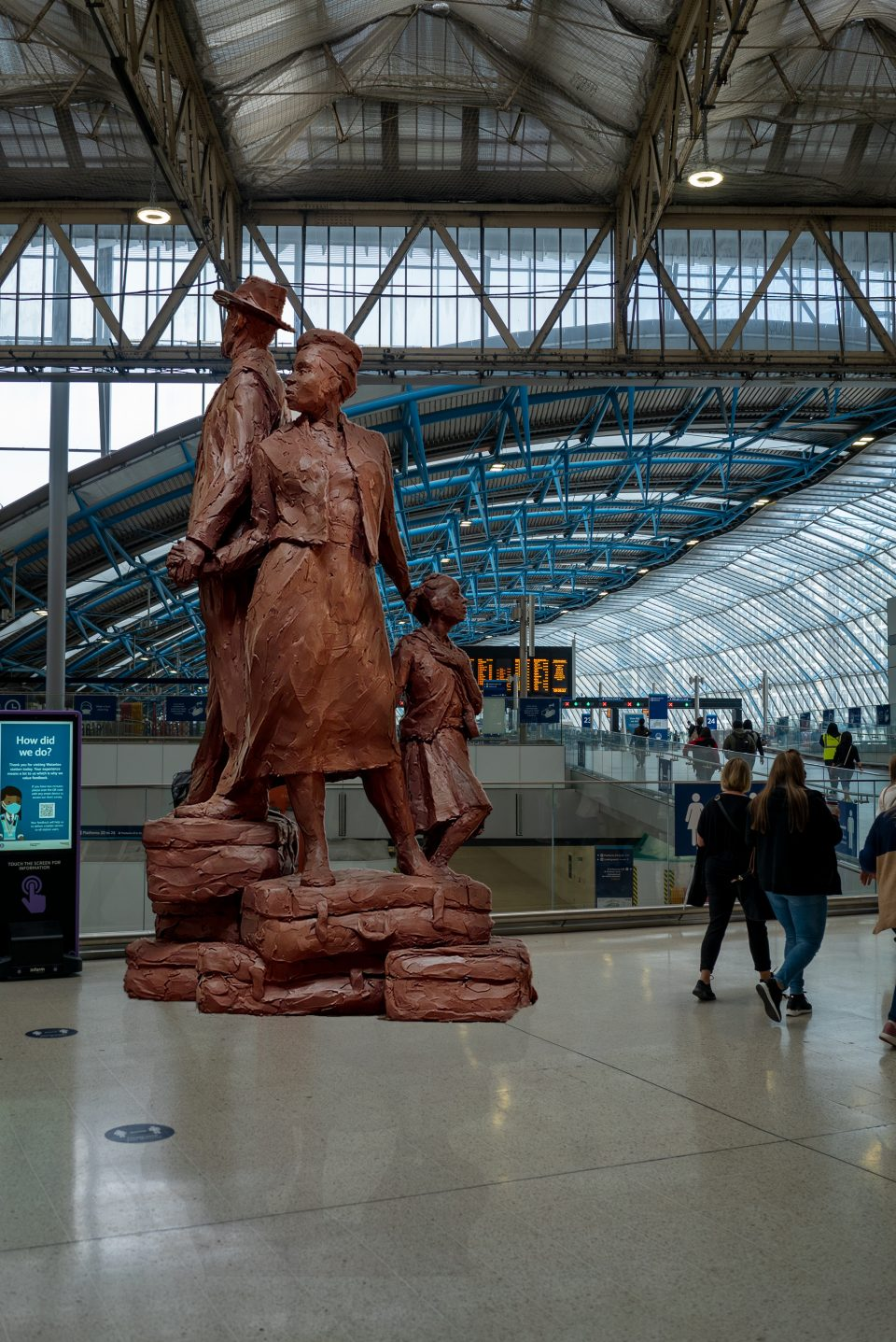 Basil Watson - proposed Windrush Monument in situ at Waterloo Station