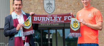 Spreadex, represented here by head of marketing Andy MacKenzie, and Burnley, whose captain Ben Mee is pictured, have agreed a one-year deal