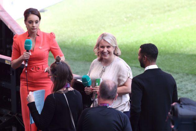 Chelsea Women manager Emma Hayes (centre) won plaudits for her Euro 2020 punditry on ITV