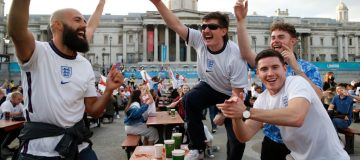 Football Fans Support England Against Ukraine In Their Euro 2020 Match