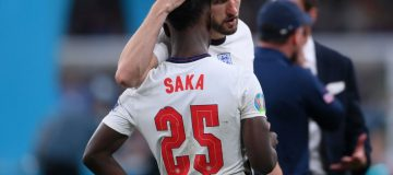 Bukayo Saka, 19, took the decisive fifth penalty of the shootout for England but saw it saved by Italy goalkeeper Gianluigi Donnarumma