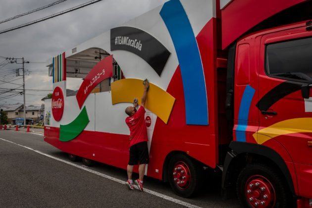 Coca-Cola, a top-tier Olympic sponsor, had branding at the Tokyo 2020 torch relay