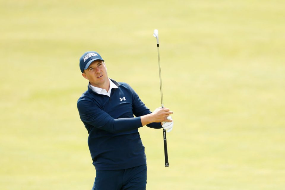 Jordan Spieth shot a five-under-par 65 to lie one shot behind leader Louis Oosthuizen after day one at the Open