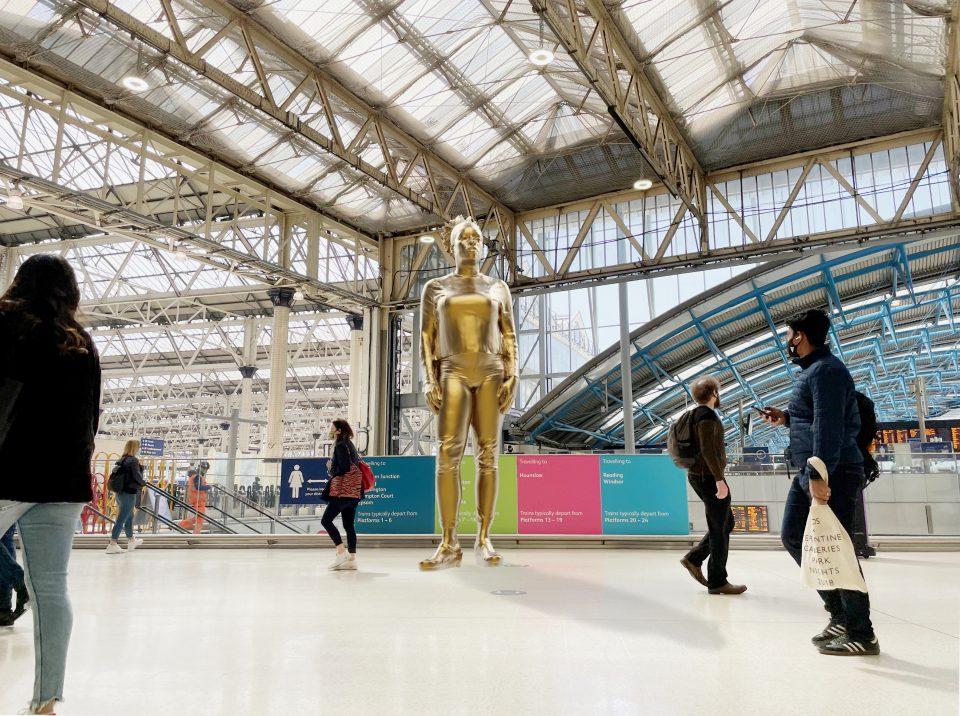 Thomas J Price - proposed Windrush Monument in situ at Waterloo Station, London