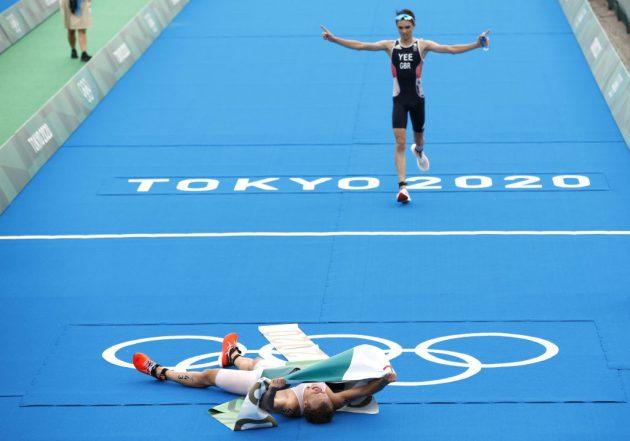 Alex Yee of Team GB took silver in the men's traithlon behind Norway's Kristian Blummenfelt