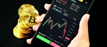 Bitcoin chart on phone screen