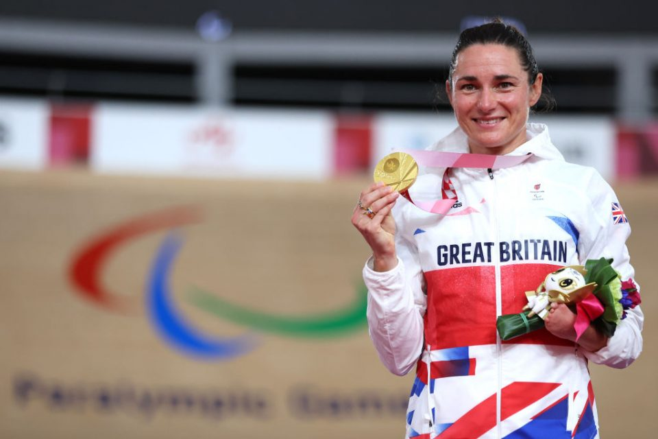 Dame Sarah Storey won her 15th Paralympic gold medal by defending her C5 3,000m individual pursuit title