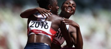 Dina Asher-Smith (right) helped Team GB reach the final of the women's 4x100m relay at the Tokyo 2020 Olympics