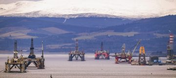 Oil Rigs In The Cromarty Firth Awaiting Decommission